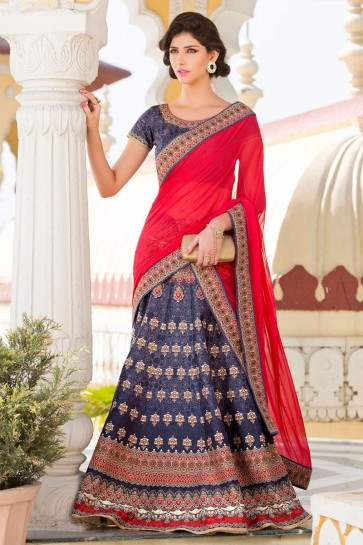Optimum Blue Silk Designer Digital Printed Lehenga Choli With Silk Dupatta