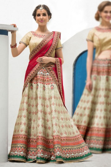 Excellent Beige Silk Designer Digital Printed Long Length Lehenga Choli With Silk Dupatta