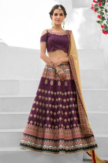 Graceful Purple Silk Designer Digital Printed Long Length Lehenga Choli With Silk Dupatta