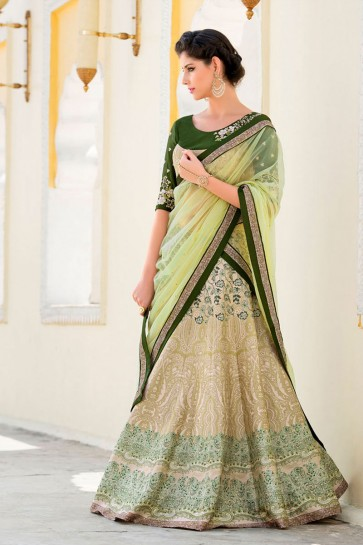 Admirable Beige Silk Designer Digital Printed Lehenga Choli With Silk Dupatta