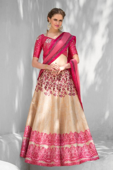 Stylish Beige and Pink Silk Designer Digital Printed Long Length Lehenga Choli With Silk Dupatta
