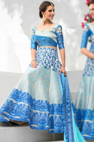 Ultimate Blue Silk Designer Digital Printed Long Length Lehenga Choli With Silk Dupatta