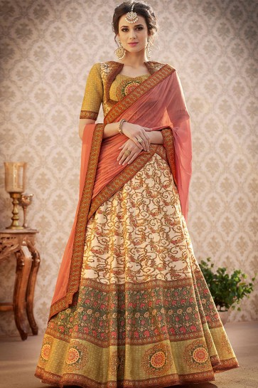 Optimum Beige Banarasi Silk Digital Printed Lehenga Choli With Chiffon Dupatta