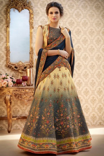 Graceful Beige and Blue Banarasi Silk Digital Printed Long Length Lehenga Choli With Chiffon Dupatta