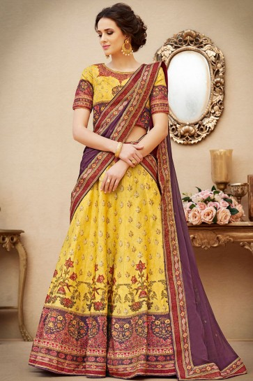 Charming Yellow Banarasi Silk Digital Printed Lehenga Choli With Chiffon Dupatta
