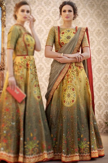 Admirable Beige Banarasi Silk Digital Printed Long Length Lehenga Choli With Chiffon Dupatta