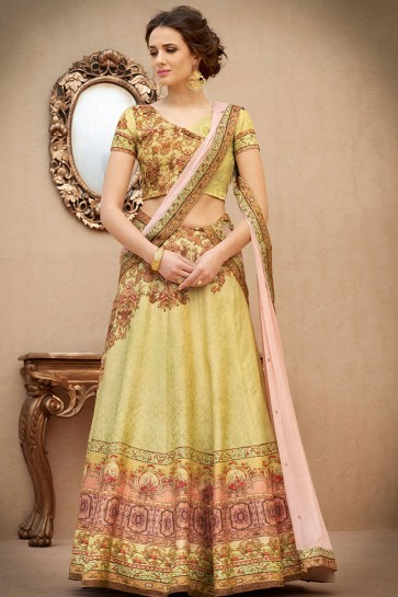 Ultimate Golden Banarasi Silk Digital Printed Long Length Lehenga Choli With Chiffon Dupatta
