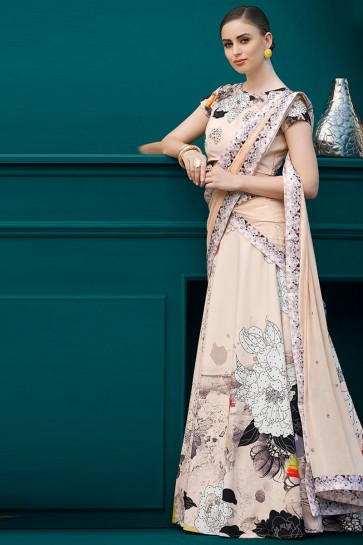 Lovely Peach Silk Digital Printed Long Length Designer Lehenga Choli With Chiffon Dupatta