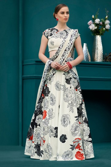 Desirable Off White Silk Digital Printed Long Length Designer Lehenga Choli With Chiffon Dupatta