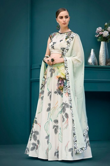 Excellent Off White Silk Digital Printed Long Length Designer Lehenga Choli With Chiffon Dupatta