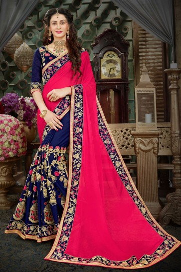 Classic Pink and Navy Blue Georgette Zari Work Designer Saree With Banglori Silk Blouse