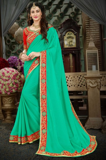 Excellent Turquoise Georgette Zari Work Designer Saree With Banglori Silk Blouse