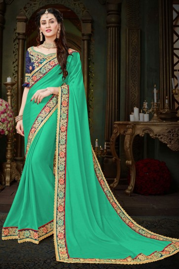 Marvelous Turquoise Georgette Zari Work Designer Saree With Banglori Silk Blouse