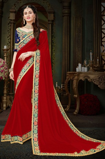 Stylish Maroon Georgette Zari Work Designer Saree With Banglori Silk Blouse
