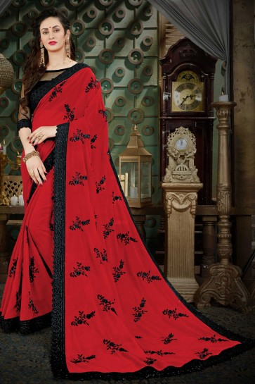 Classic Red Georgette Zari Work Designer Saree With Banglori Silk Blouse