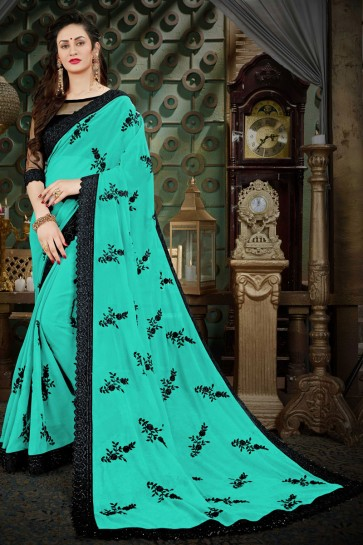 Admirable Turquoise Georgette Zari Work Designer Saree With Banglori Silk Blouse