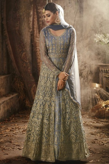 Desirable Grey Net Embroidered Anarkali Salwar Suit With Nazmin Dupatta