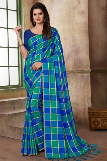 Beautiful Blue Silk Printed Casual Saree With Silk Blouse
