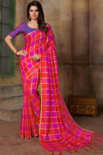 Optimum Magenta and Red Silk Printed Casual Saree With Silk Blouse