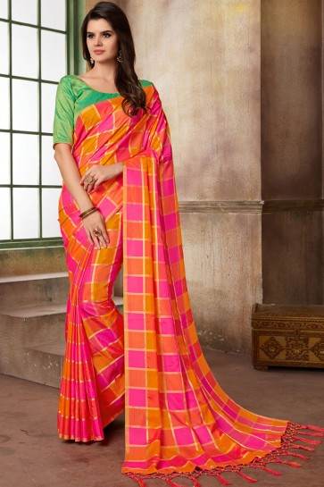Lovely Orange and Pink Silk Printed Casual Saree With Silk Blouse