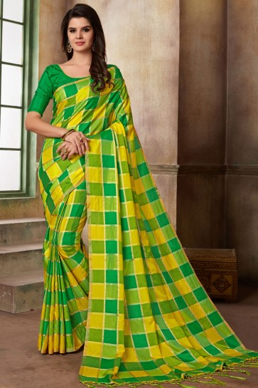 Graceful Yellow and Green Silk Printed Casual Saree With Silk Blouse