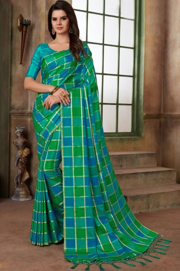 Admirable Blue and Green Silk Printed Casual Saree With Silk Blouse