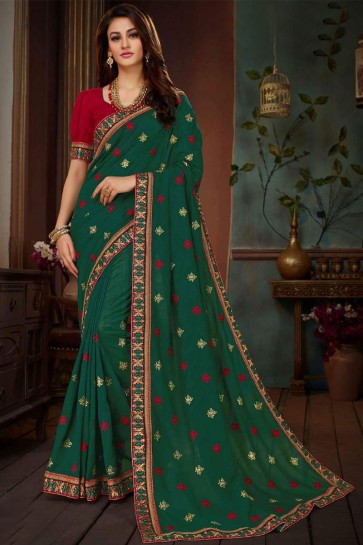 Admirable Green Silk Embroidered Wedding Saree With Banglori Silk Blouse