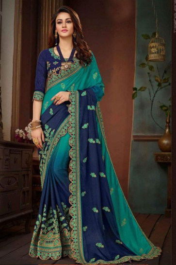 Gorgeous Teal and Blue Silk Embroidered Wedding Saree With Banglori Silk Blouse