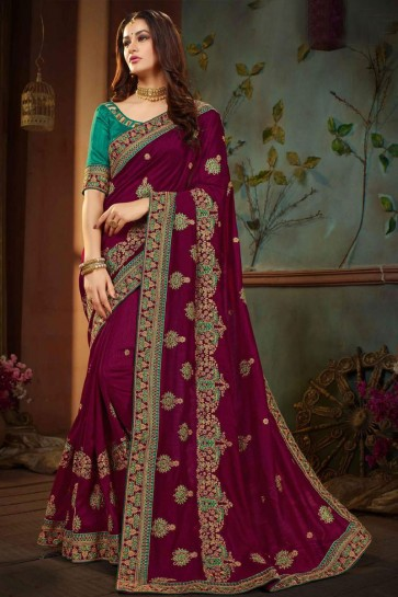 Desirable Maroon Silk Embroidered Wedding Saree With Banglori Silk Blouse