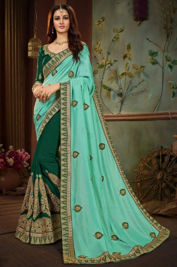 Marvelous Green and Turquoise Silk Embroidered Wedding Saree With Banglori Silk Blouse