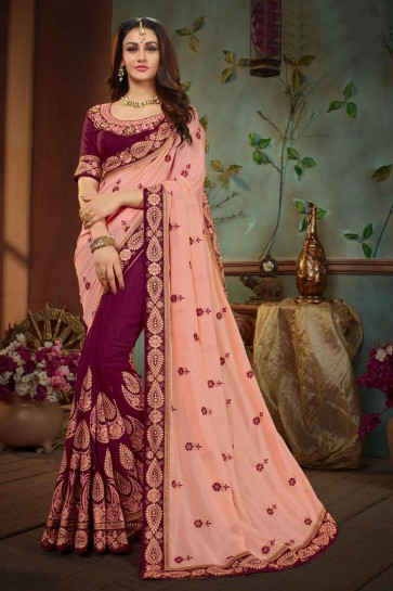 Excellent Peach and Purple Silk Embroidered Wedding Saree With Banglori Silk Blouse