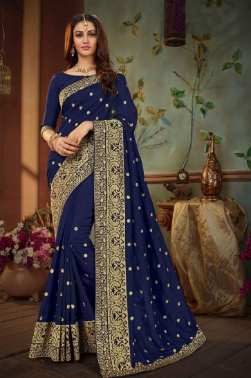 Lovely Navy Blue Silk Embroidered Wedding Saree With Banglori Silk Blouse
