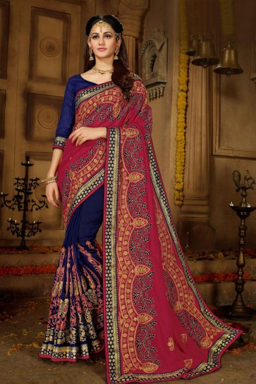 Pretty Maroon and Navy Blue Silk Embroidered Wedding Saree With Banglori Silk Blouse