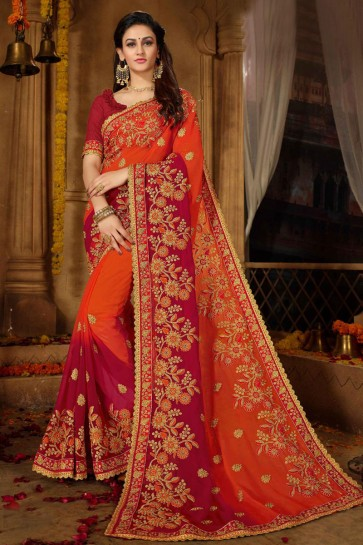 Graceful Orange and Red Georgette Embroidered Wedding Saree With Banglori Silk Blouse