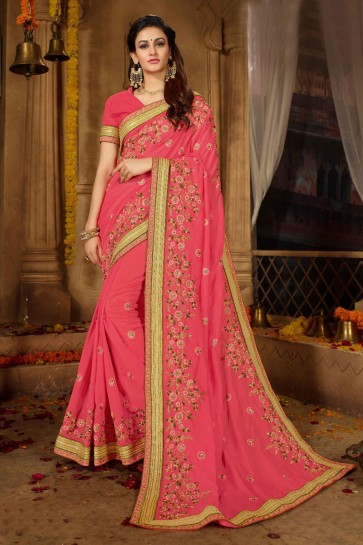 Charming Pink Silk Embroidered Wedding Saree With Banglori Silk Blouse