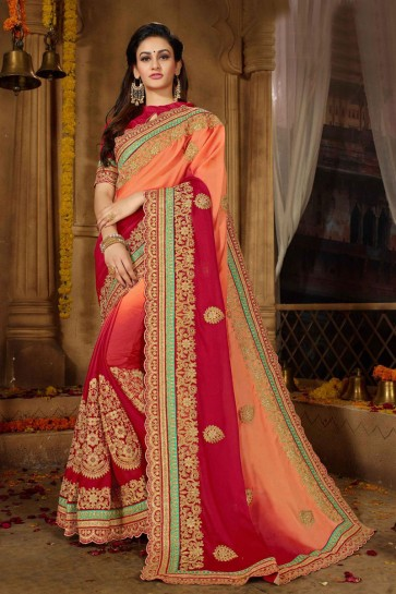 Excellent Peach and Red Silk Embroidered Wedding Saree With Banglori Silk Blouse