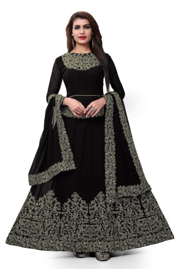 Ultimate Black Faux Georgette Embroidered Designer Anarkali Salwar Suit With Nazmin Dupatta