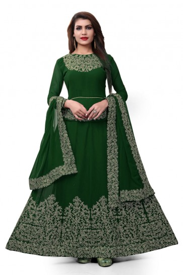 Admirable Green Faux Georgette Embroidered Designer Anarkali Salwar Suit With Nazmin Dupatta