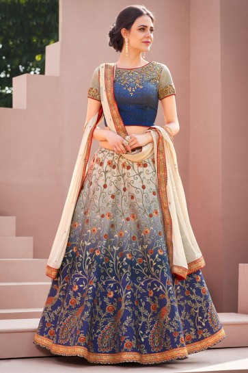 Stylish Blue Silk Digital Printed Long Length Designer Lehenga Choli With Chiffon Dupatta