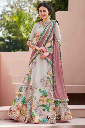 Lovely Grey Silk Digital Printed Designer Lehenga Choli With Chiffon Dupatta
