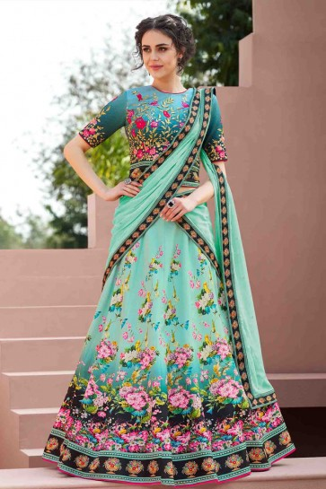 Charming Turquoise Silk Digital Printed Long Length Designer Lehenga Choli With Chiffon Dupatta