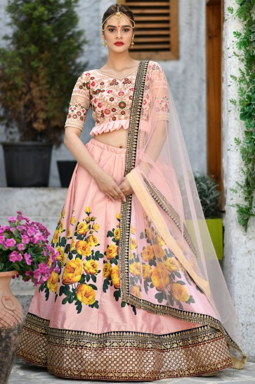 Beautiful Peach Silk Embroidered Designer Lehenga Choli With Net Dupatta