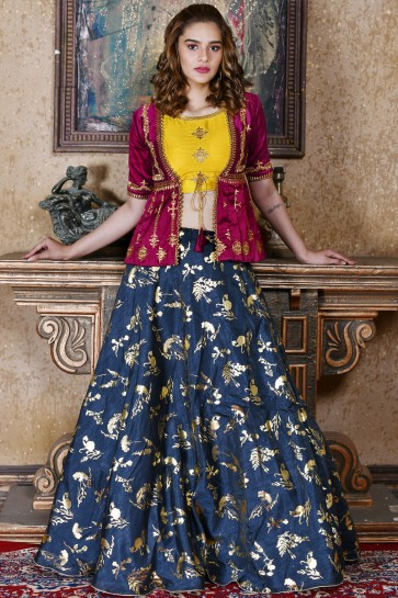 Admirable Navy Blue Silk Embroidered Designer Lehenga Choli With Net Dupatta