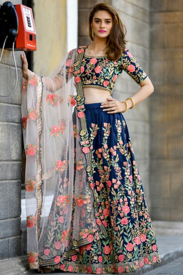 Pretty Navy Blue Silk Embroidered Designer Lehenga Choli With Net Dupatta