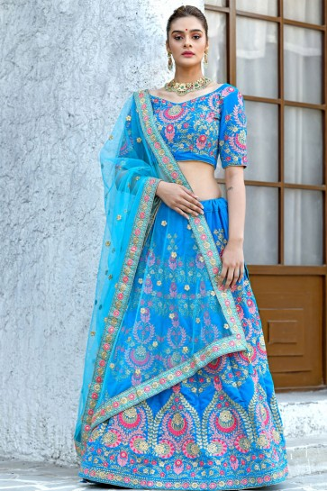 Gorgeous Sky Blue Silk Embroidered Designer Lehenga Choli With Net Dupatta