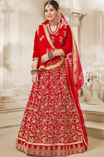 Lovely Red Party Wear Embroidered Velvet Lehenga Choli With Net Dupatta