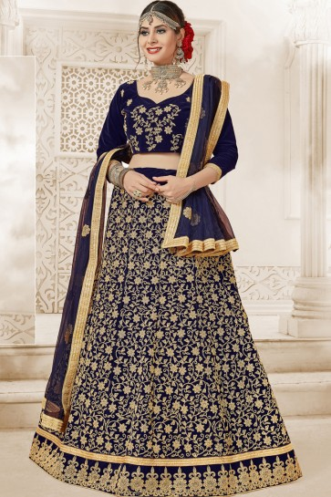 Party Wear Navy Blue Embroidered Stylish Velvet Lehenga Choli With Net Dupatta