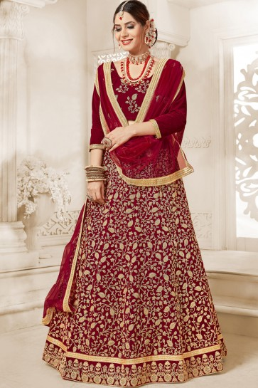 Maroon Classic Embroidered Designer Velvet Lehenga Choli With Net Dupatta