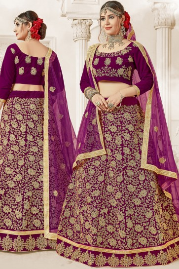 Purple Classic Designer Embroidered Velvet Lehenga Choli With Net Dupatta