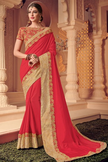 Graceful Peach Silk Embroidered Wedding Saree With Silk Blouse